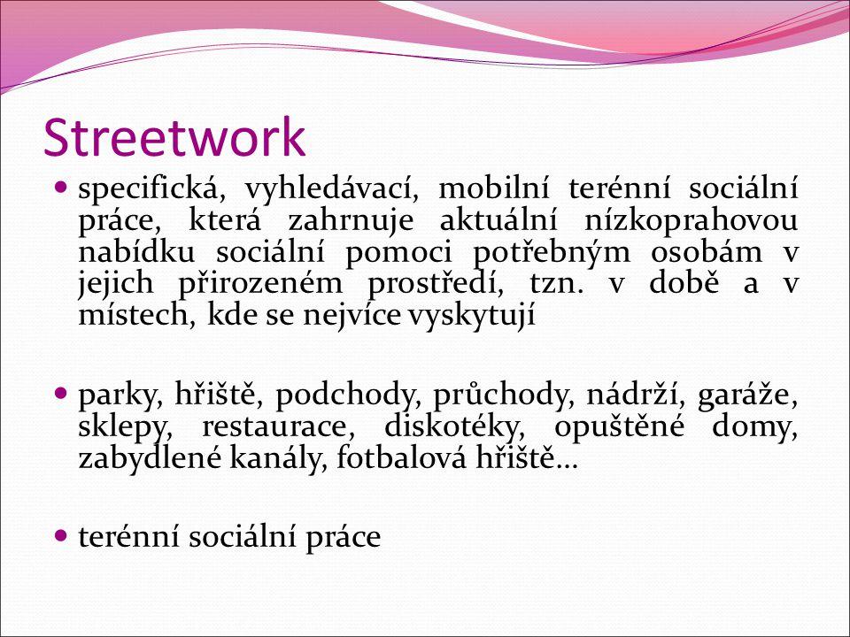 Streetwork specifická, vyhledávací, mobilní terénní sociální práce, která zahrnuje aktuální nízkoprahovou nabídku sociální pomoci potřebným osobám v j