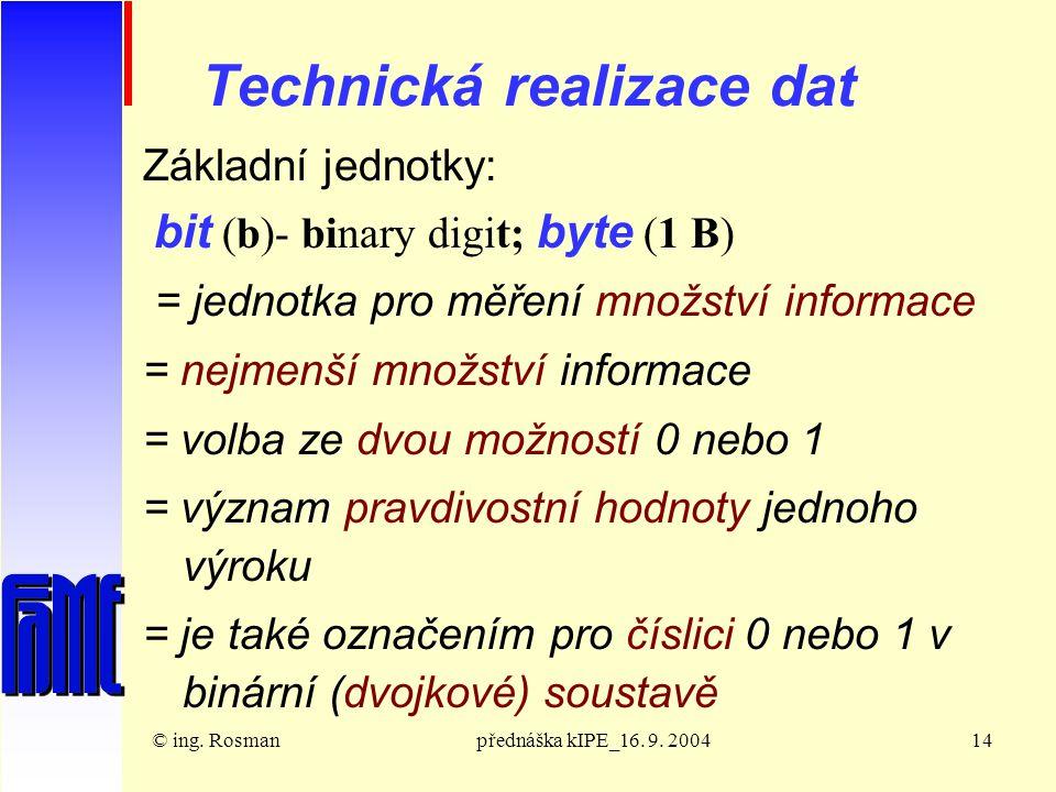 © ing. Rosmanpřednáška kIPE_16. 9.