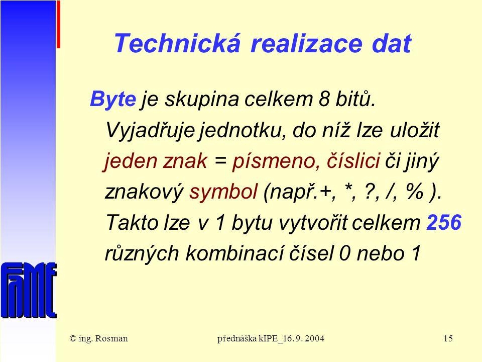 © ing. Rosmanpřednáška kIPE_16. 9. 200415 Technická realizace dat Byte je skupina celkem 8 bitů.
