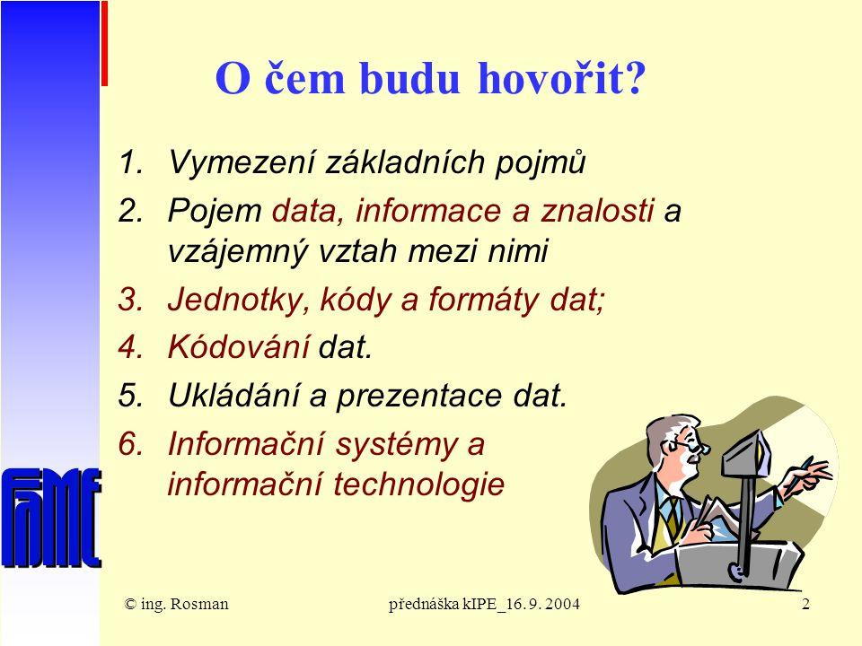 © ing.Rosmanpřednáška kIPE_16. 9. 20043 Konec 20.