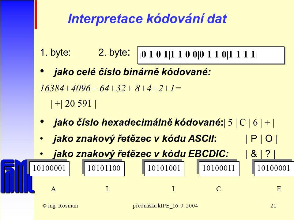 © ing. Rosmanpřednáška kIPE_16. 9. 200421 Interpretace kódování dat 1.