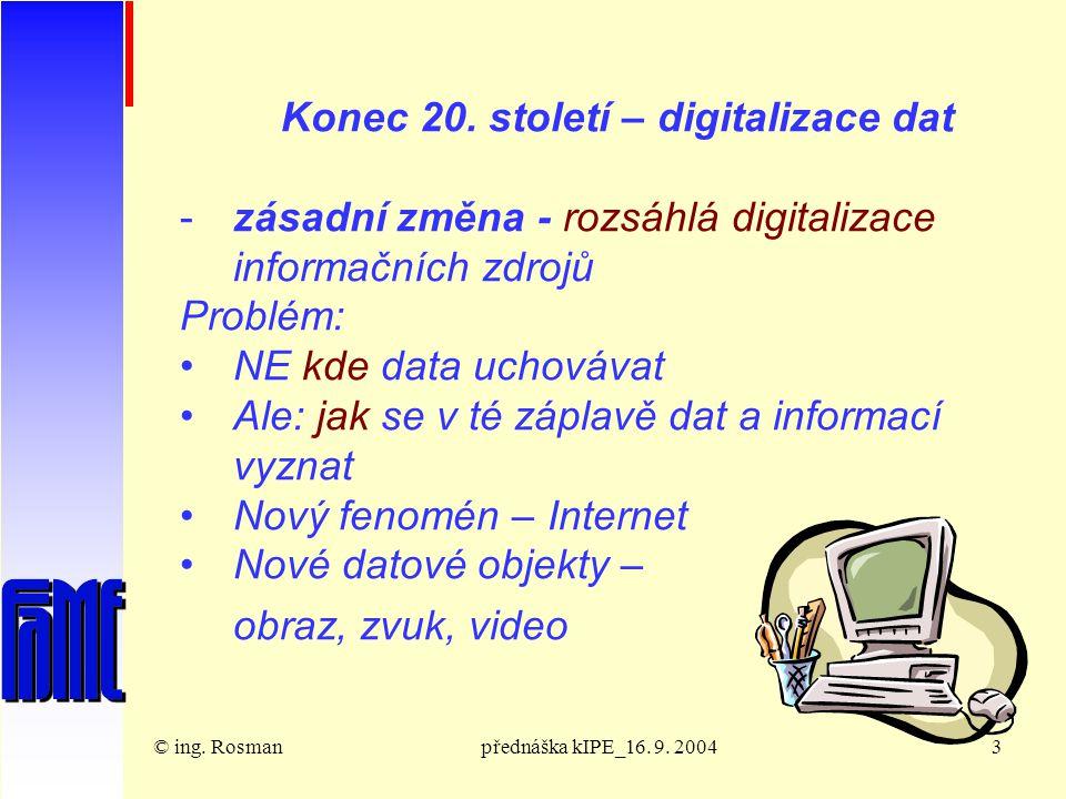 © ing. Rosmanpřednáška kIPE_16. 9. 20043 Konec 20.