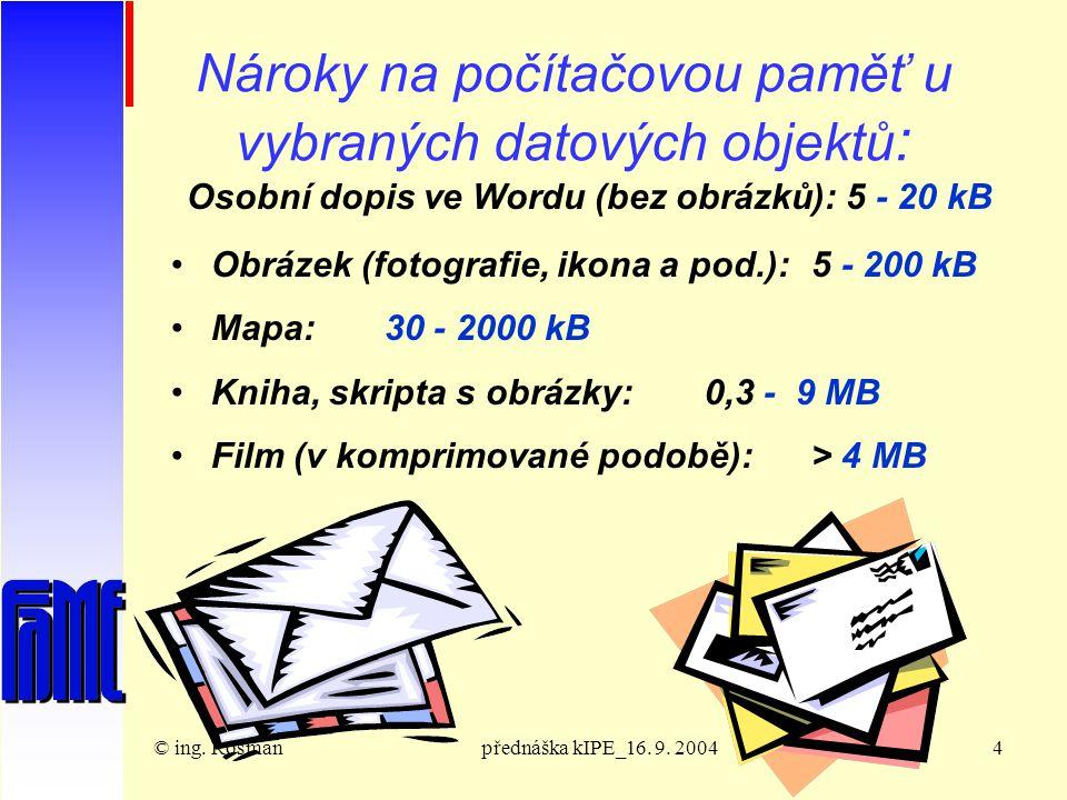 © ing.Rosmanpřednáška kIPE_16. 9. 200415 Technická realizace dat Byte je skupina celkem 8 bitů.