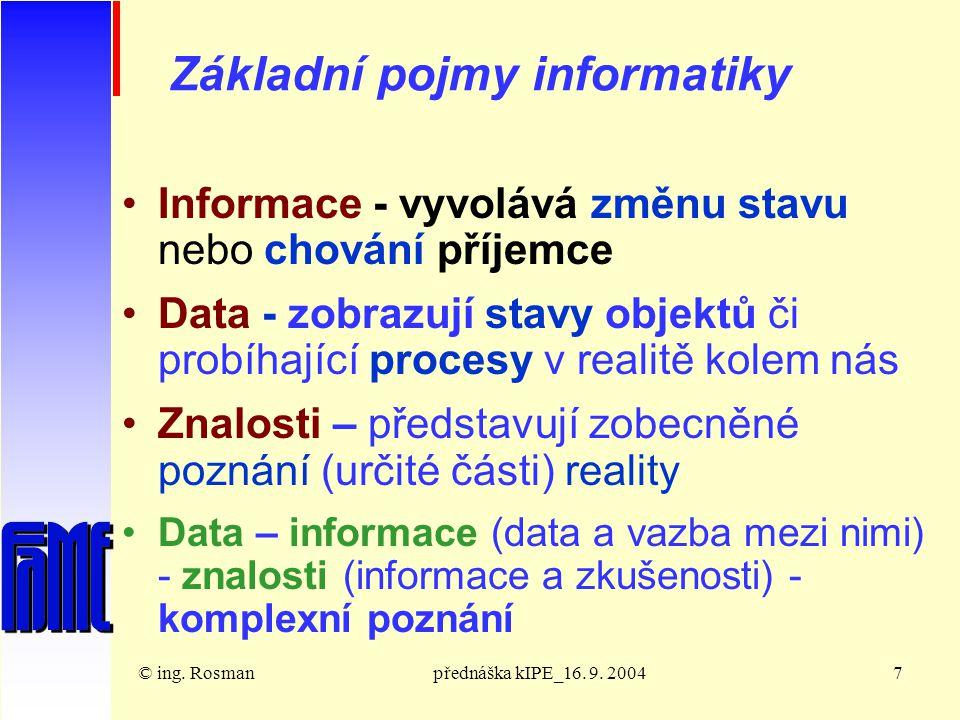 © ing.Rosmanpřednáška kIPE_16. 9. 200418 Tabulka ASCII : 000000010010001101000101 0110 ….
