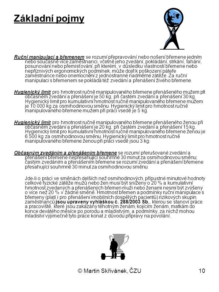 10 Základní pojmy Ruční manipulací s břemenem se rozumí přepravování nebo nošení břemene jedním nebo současně více zaměstnanci, včetně jeho zvedání, p