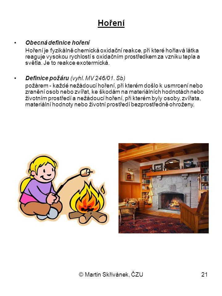 © Martin Skřivánek, ČZU21 Hoření Obecná definice hoření Hoření je fyzikálně chemická oxidační reakce, při které hořlavá látka reaguje vysokou rychlost