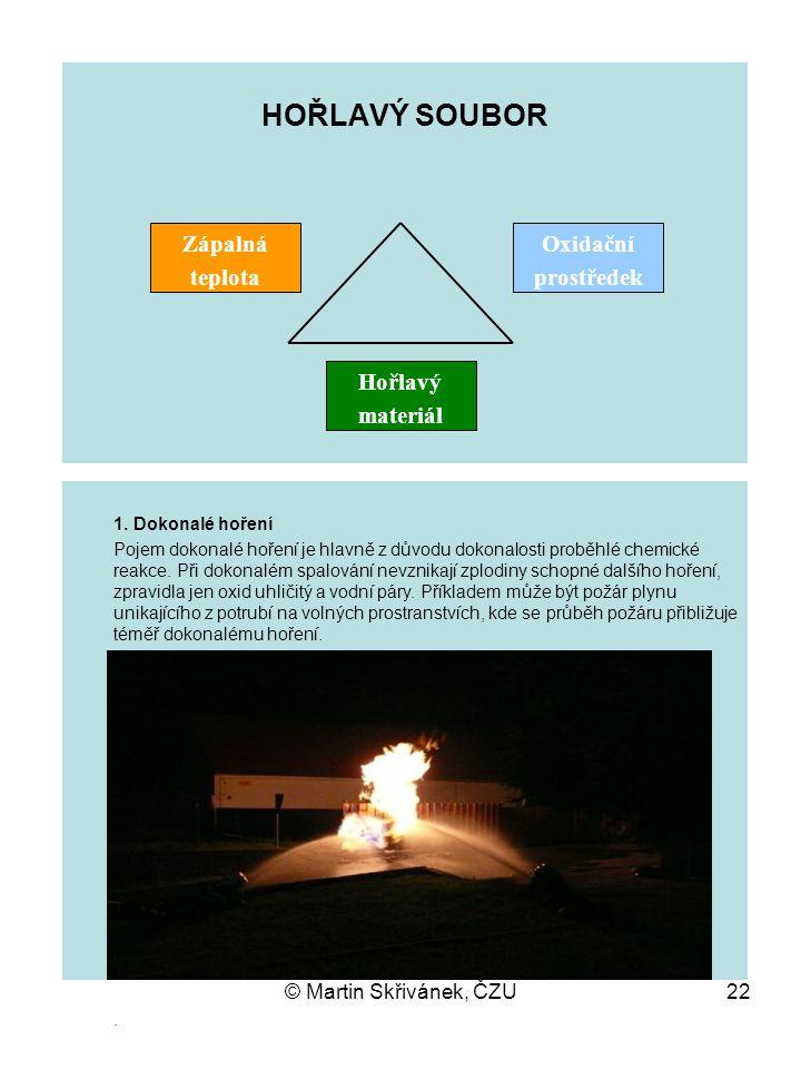 © Martin Skřivánek, ČZU22 HOŘLAVÝ SOUBOR. Zápalná teplota Oxidační prostředek Hořlavý materiál 1. Dokonalé hoření Pojem dokonalé hoření je hlavně z dů