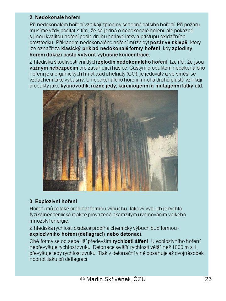 © Martin Skřivánek, ČZU23 2. Nedokonalé hoření Při nedokonalém hoření vznikají zplodiny schopné dalšího hoření. Při požáru musíme vždy počítat s tím,