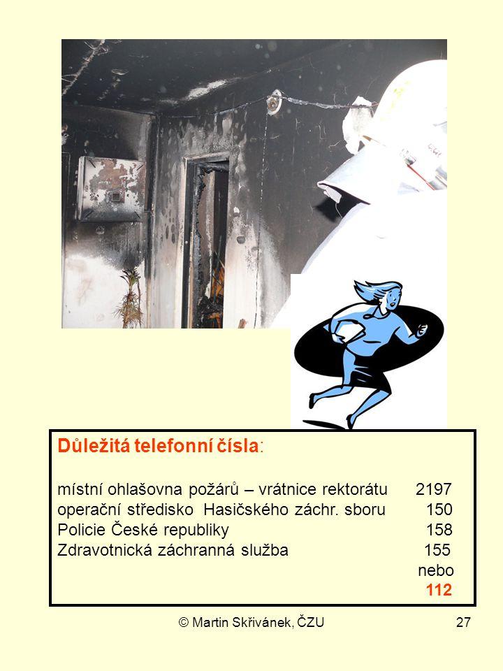 © Martin Skřivánek, ČZU27 Důležitá telefonní čísla: místní ohlašovna požárů – vrátnice rektorátu 2197 operační středisko Hasičského záchr. sboru 150 P