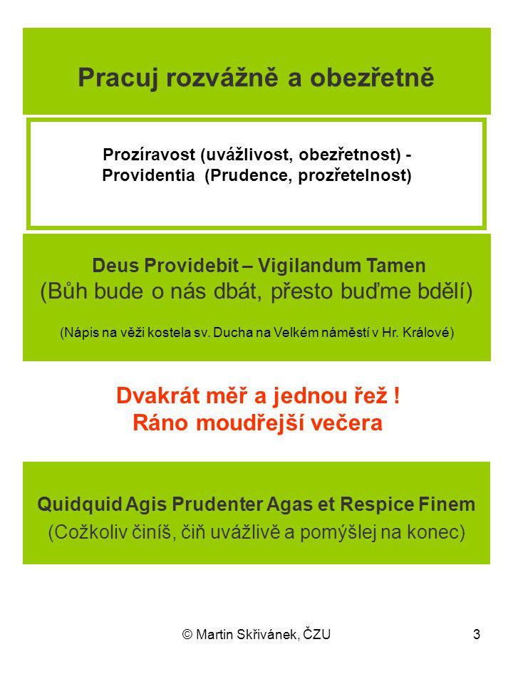© Martin Skřivánek, ČZU3 Prozíravost (uvážlivost, obezřetnost) - Providentia (Prudence, prozřetelnost) Dvakrát měř a jednou řež ! Ráno moudřejší večer