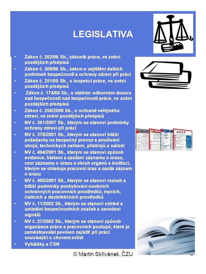 © Martin Skřivánek, ČZU4 LEGISLATIVA Zákon č. 262/06 Sb., zákoník práce, ve znění pozdějších předpisů Zákon č. 309/06 Sb., zákon o zajištění dalších p