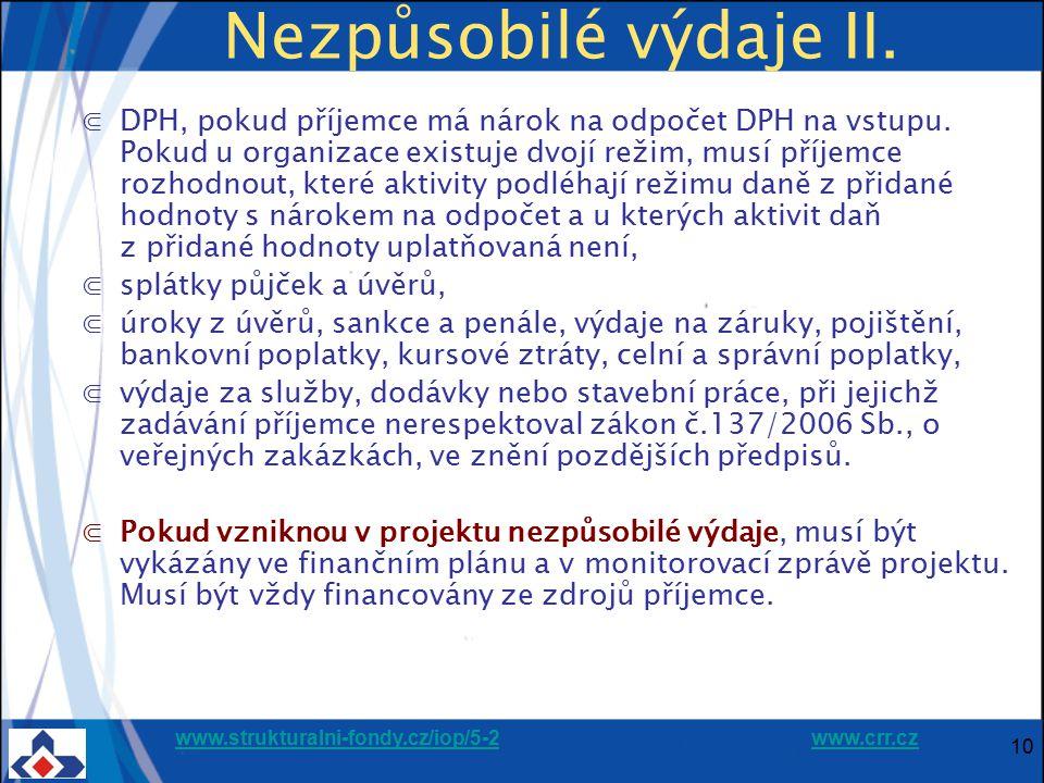 www.strukturalni-fondy.cz/iop/5-2www.strukturalni-fondy.cz/iop/5-2 www.crr.czwww.crr.cz 10 Nezpůsobilé výdaje II. ⋐DPH, pokud příjemce má nárok na odp