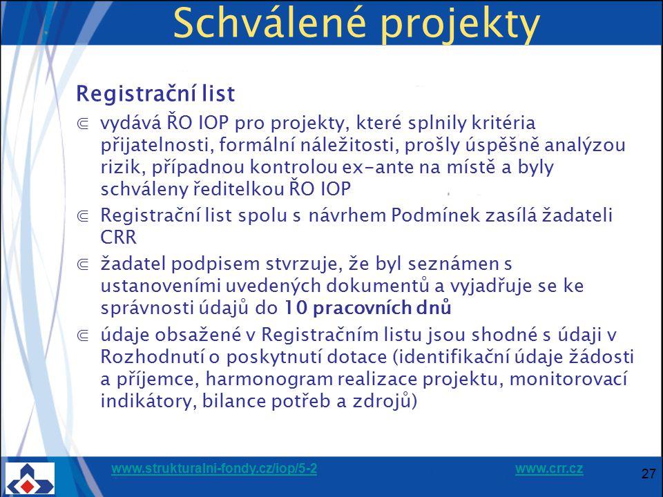www.strukturalni-fondy.cz/iop/5-2www.strukturalni-fondy.cz/iop/5-2 www.crr.czwww.crr.cz 27 Schválené projekty Registrační list ⋐vydává ŘO IOP pro proj