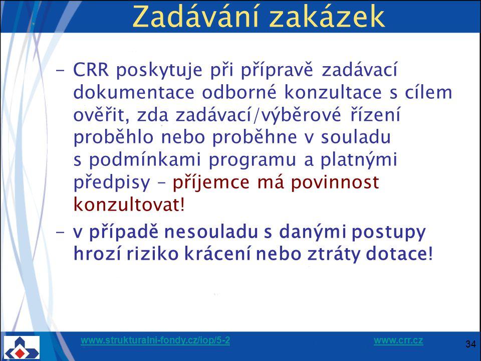 www.strukturalni-fondy.cz/iop/5-2www.strukturalni-fondy.cz/iop/5-2 www.crr.czwww.crr.cz 34 Zadávání zakázek -CRR poskytuje při přípravě zadávací dokum