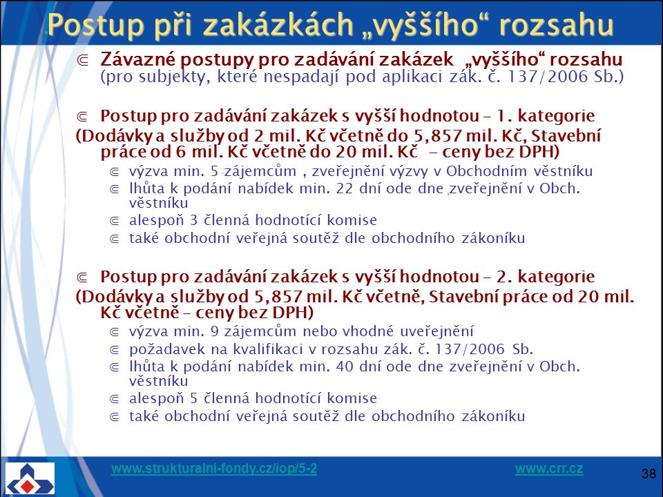 """www.strukturalni-fondy.cz/iop/5-2www.strukturalni-fondy.cz/iop/5-2 www.crr.czwww.crr.cz 38 Postup při zakázkách """"vyššího"""" rozsahu ⋐Závazné postupy pro"""