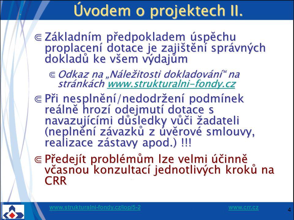 www.strukturalni-fondy.cz/iop/5-2www.strukturalni-fondy.cz/iop/5-2 www.crr.czwww.crr.cz 25 Kontroly projektů ⋐Probíhají před zahájením realizace, během, ale i po ukončení realizace projektu, ⋐Před schválením projektů probíhá kontrola ⋐Přijatelnosti projektu a žadatele ⋐Formálních náležitostí předloženého projektu ⋐Rizik projektů ⋐Projekt se intenzivně kontroluje při ukončení každé etapy realizace ⋐Kontroly může provádět množství kontrolních orgánů (CRR, ŘO IOP, PAS, FÚ, EK apod.)