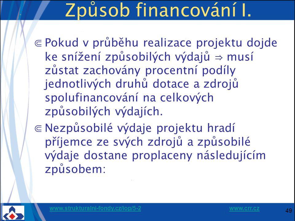 www.strukturalni-fondy.cz/iop/5-2www.strukturalni-fondy.cz/iop/5-2 www.crr.czwww.crr.cz 49 Způsob financování I. ⋐Pokud v průběhu realizace projektu d