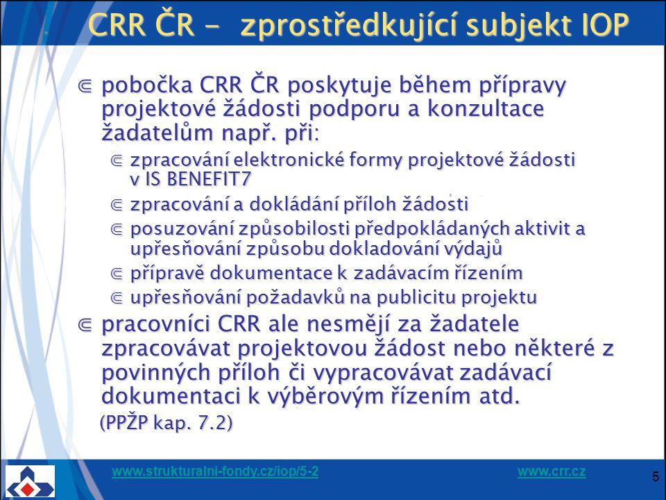 www.strukturalni-fondy.cz/iop/5-2www.strukturalni-fondy.cz/iop/5-2 www.crr.czwww.crr.cz 5 CRR ČR - zprostředkující subjekt IOP ⋐pobočka CRR ČR poskytu
