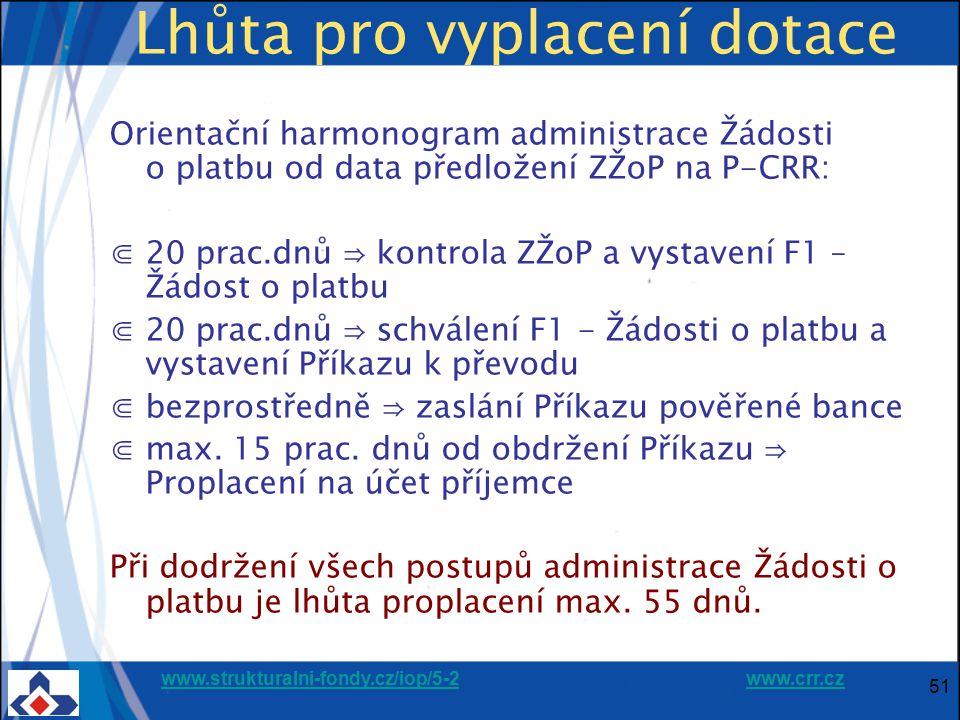 www.strukturalni-fondy.cz/iop/5-2www.strukturalni-fondy.cz/iop/5-2 www.crr.czwww.crr.cz 51 Lhůta pro vyplacení dotace Orientační harmonogram administr
