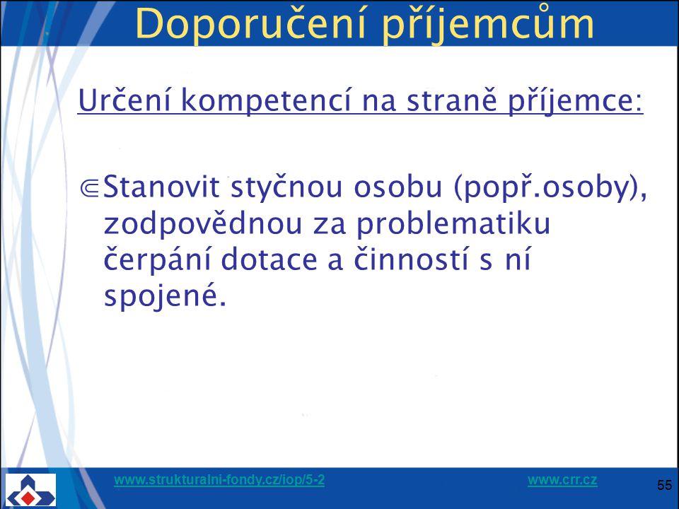 www.strukturalni-fondy.cz/iop/5-2www.strukturalni-fondy.cz/iop/5-2 www.crr.czwww.crr.cz 55 Doporučení příjemcům Určení kompetencí na straně příjemce: