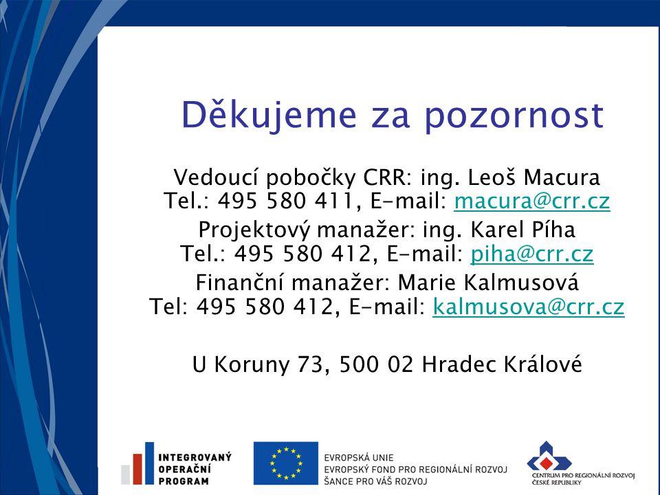 Děkujeme za pozornost Vedoucí pobočky CRR: ing. Leoš Macura Tel.: 495 580 411, E-mail: macura@crr.czmacura@crr.cz Projektový manažer: ing. Karel Píha