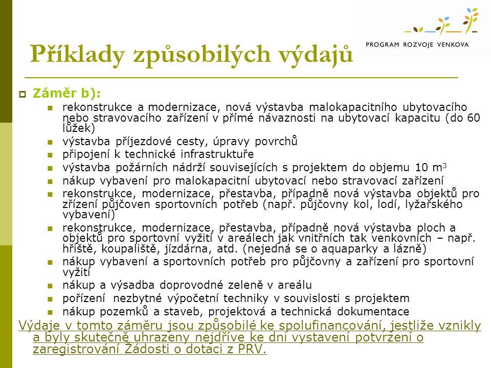 Příklady způsobilých výdajů  Záměr b): rekonstrukce a modernizace, nová výstavba malokapacitního ubytovacího nebo stravovacího zařízení v přímé návaz