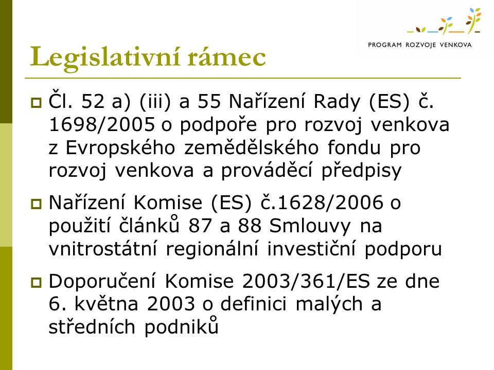 Legislativní rámec  Čl. 52 a) (iii) a 55 Nařízení Rady (ES) č. 1698/2005 o podpoře pro rozvoj venkova z Evropského zemědělského fondu pro rozvoj venk