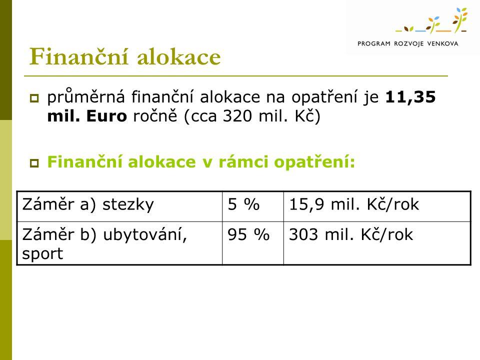 Finanční alokace  průměrná finanční alokace na opatření je 11,35 mil. Euro ročně (cca 320 mil. Kč)  Finanční alokace v rámci opatření: Záměr a) stez