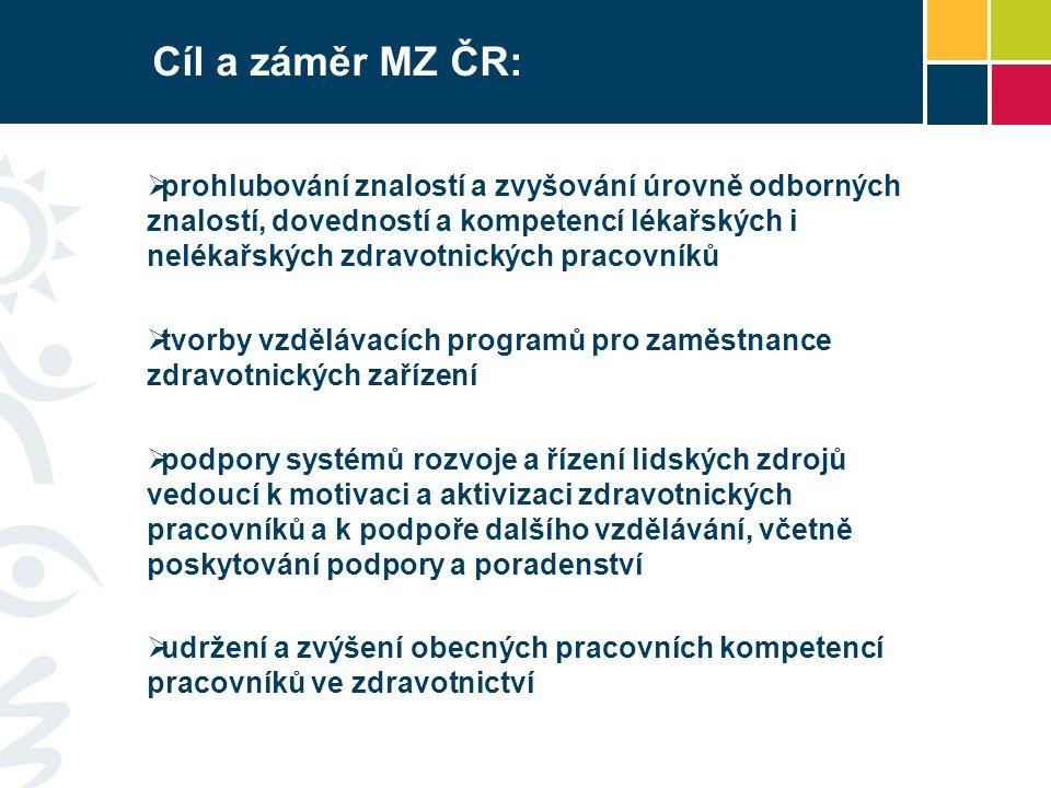 Cíl a záměr MZ ČR:  prohlubování znalostí a zvyšování úrovně odborných znalostí, dovedností a kompetencí lékařských i nelékařských zdravotnických pra