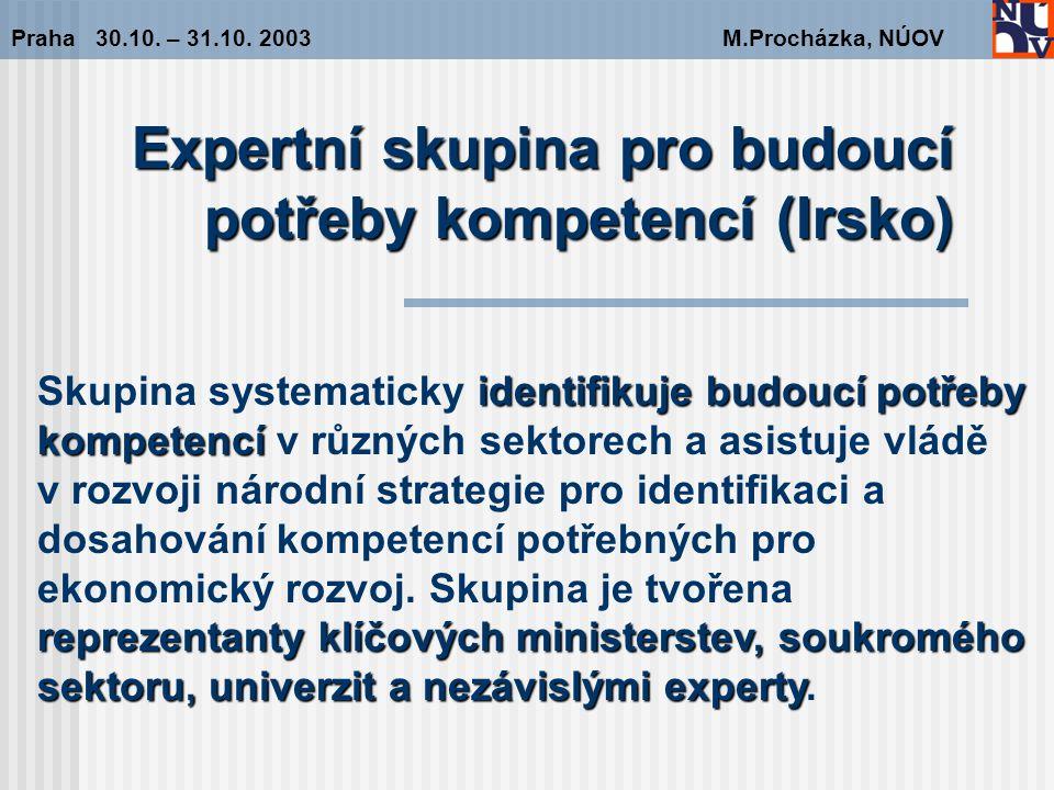 Expertní skupina pro budoucí potřeby kompetencí (Irsko) Praha 30.10.