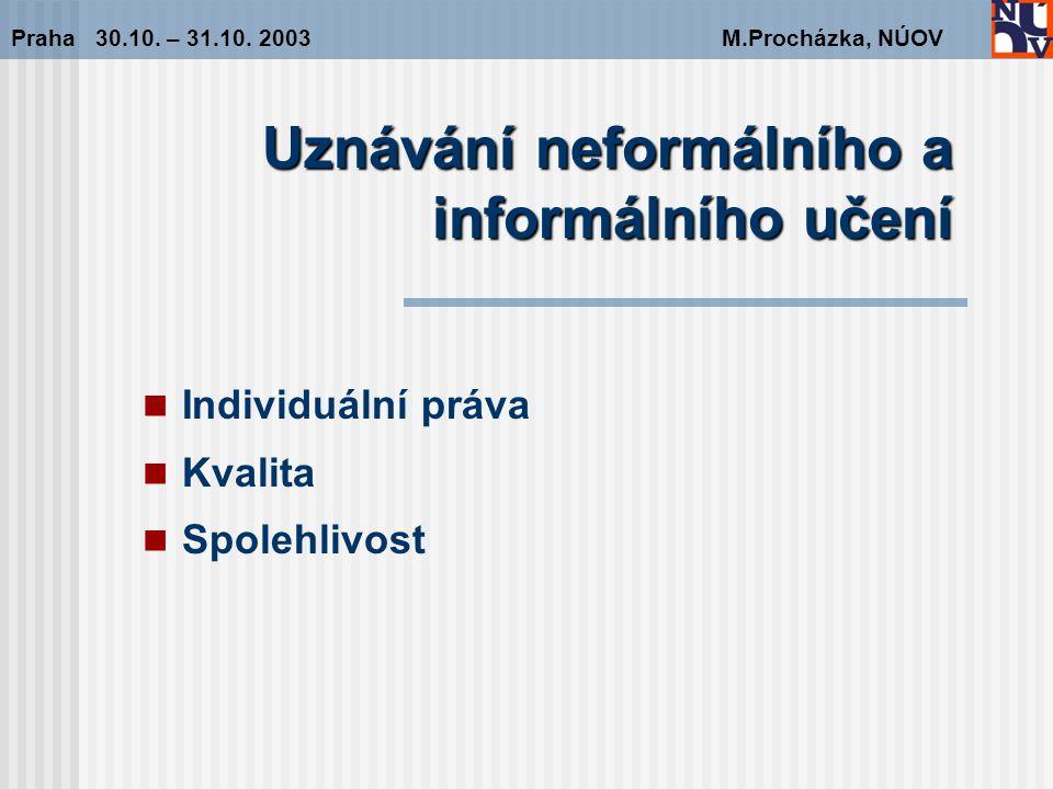 Uznávání neformálního a informálního učení Praha 30.10.