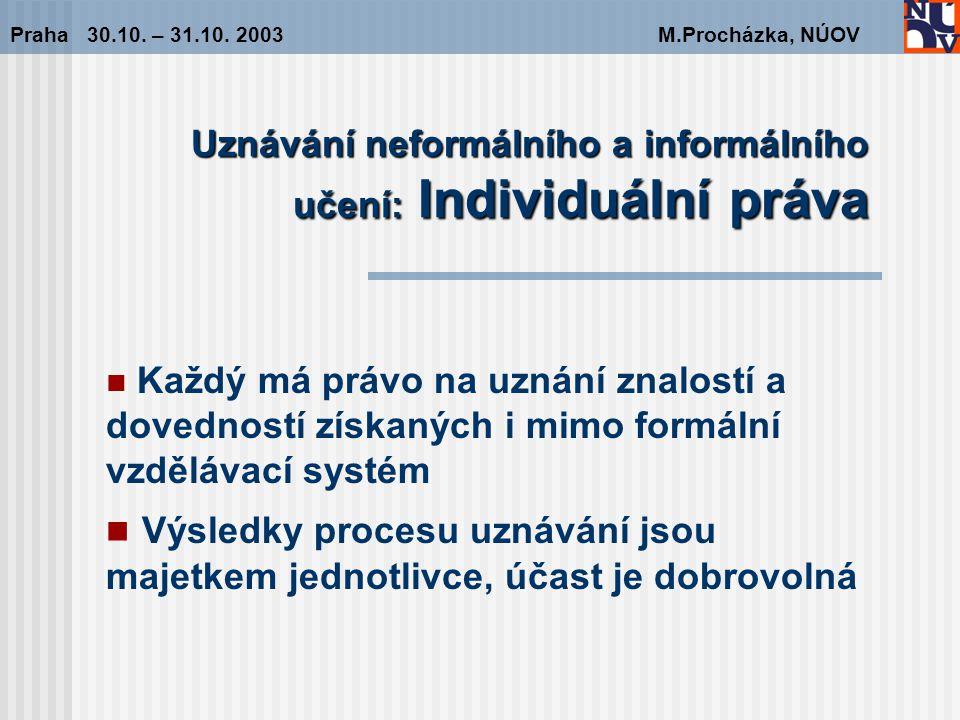 Uznávání neformálního a informálního učení: Individuální práva Praha 30.10.
