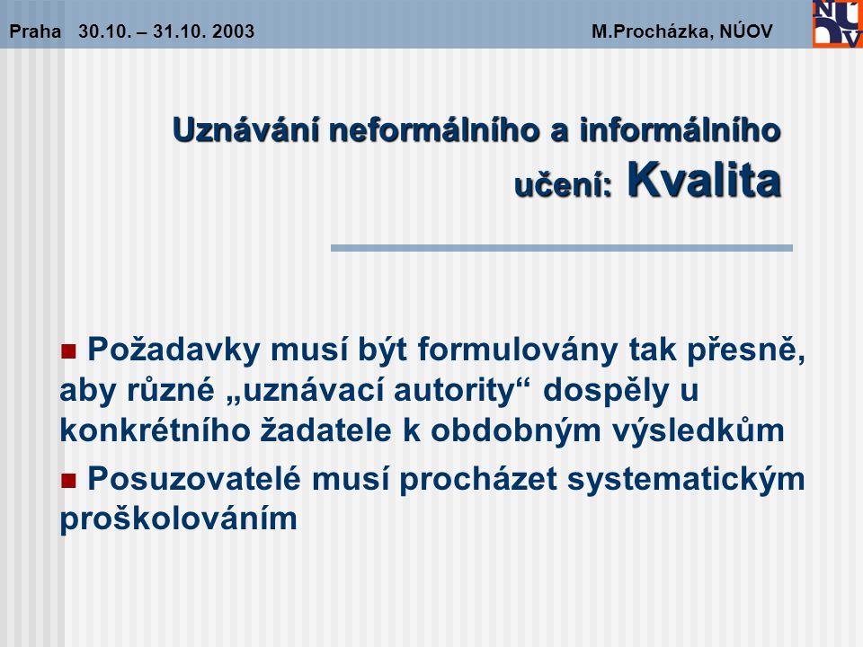 Uznávání neformálního a informálního učení: Kvalita Praha 30.10.