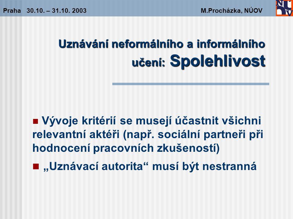 Uznávání neformálního a informálního učení: Spolehlivost Praha 30.10.