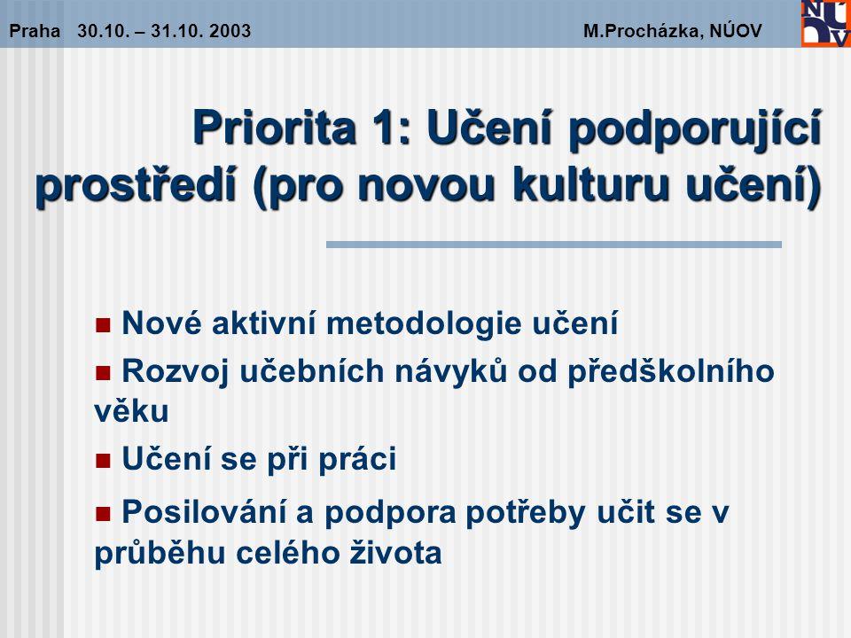 Doporučení pro Prioritu 1 Učení podporující prostředí (pro novou kulturu učení) Praha 30.10.