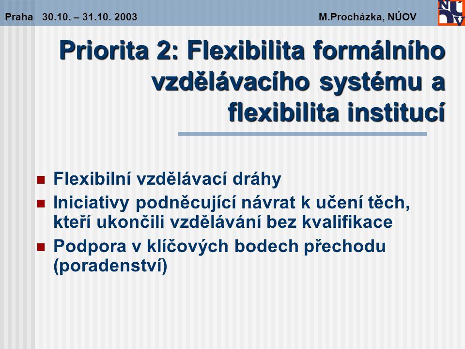 Doporučení pro Prioritu 2 Flexibilita formálního vzdělávacího systému a flexibilita institucí Praha 30.10.