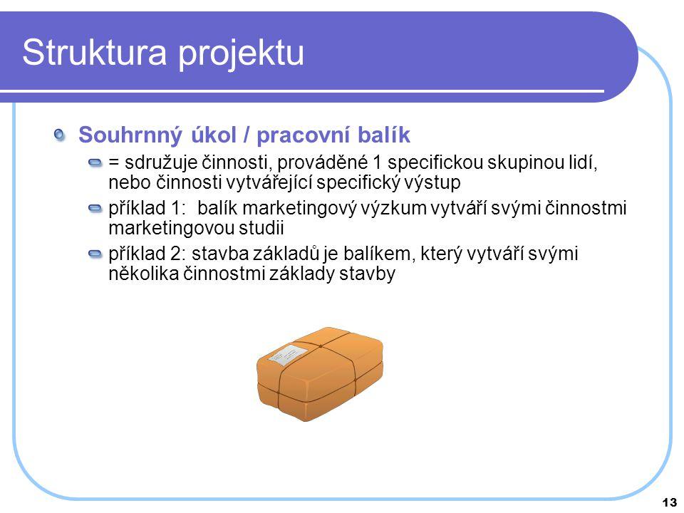 13 Struktura projektu Souhrnný úkol / pracovní balík = sdružuje činnosti, prováděné 1 specifickou skupinou lidí, nebo činnosti vytvářející specifický