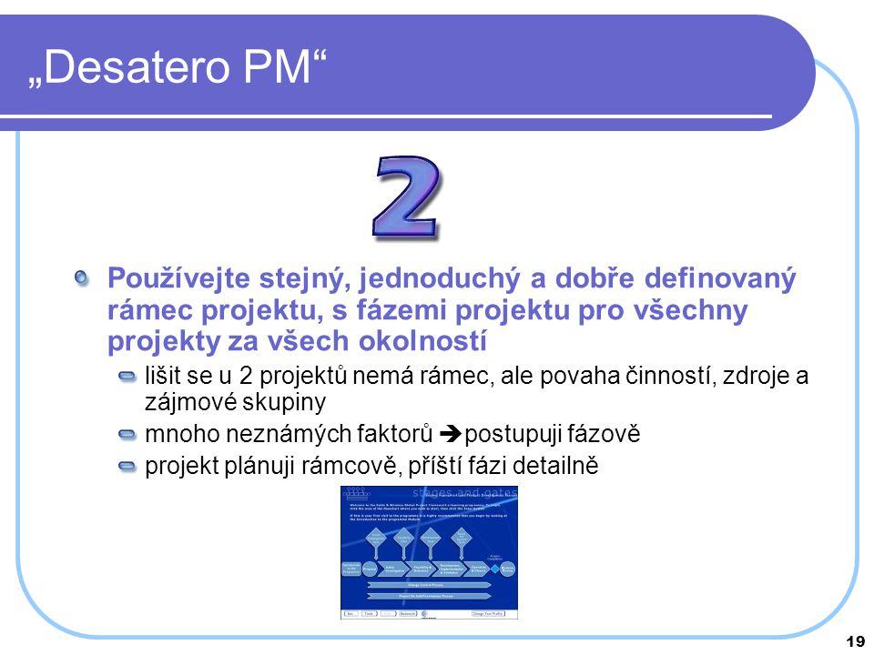 """19 """"Desatero PM"""" Používejte stejný, jednoduchý a dobře definovaný rámec projektu, s fázemi projektu pro všechny projekty za všech okolností lišit se u"""