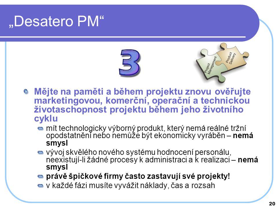 """20 """"Desatero PM"""" Mějte na paměti a během projektu znovu ověřujte marketingovou, komerční, operační a technickou životaschopnost projektu během jeho ži"""