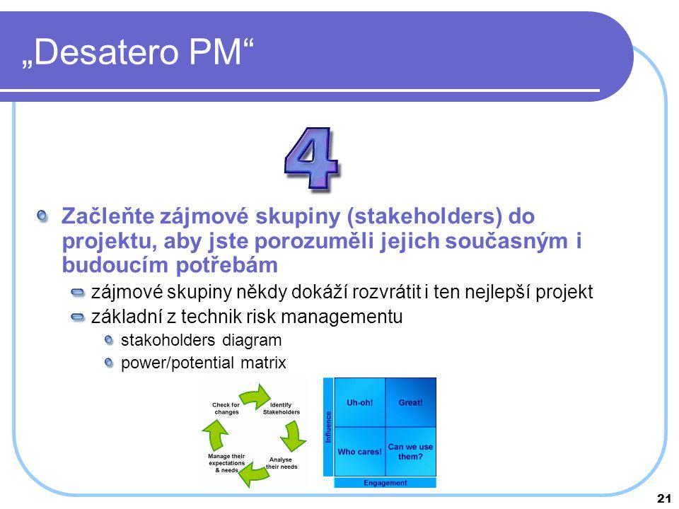 """21 """"Desatero PM"""" Začleňte zájmové skupiny (stakeholders) do projektu, aby jste porozuměli jejich současným i budoucím potřebám zájmové skupiny někdy d"""