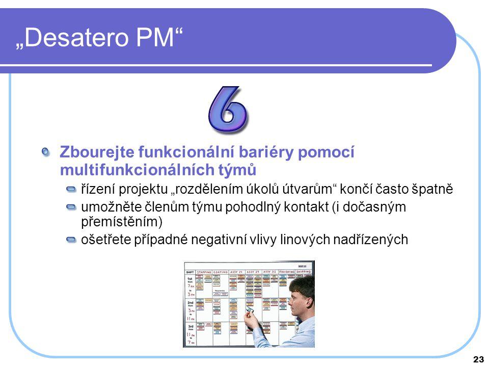 """23 """"Desatero PM"""" Zbourejte funkcionální bariéry pomocí multifunkcionálních týmů řízení projektu """"rozdělením úkolů útvarům"""" končí často špatně umožněte"""