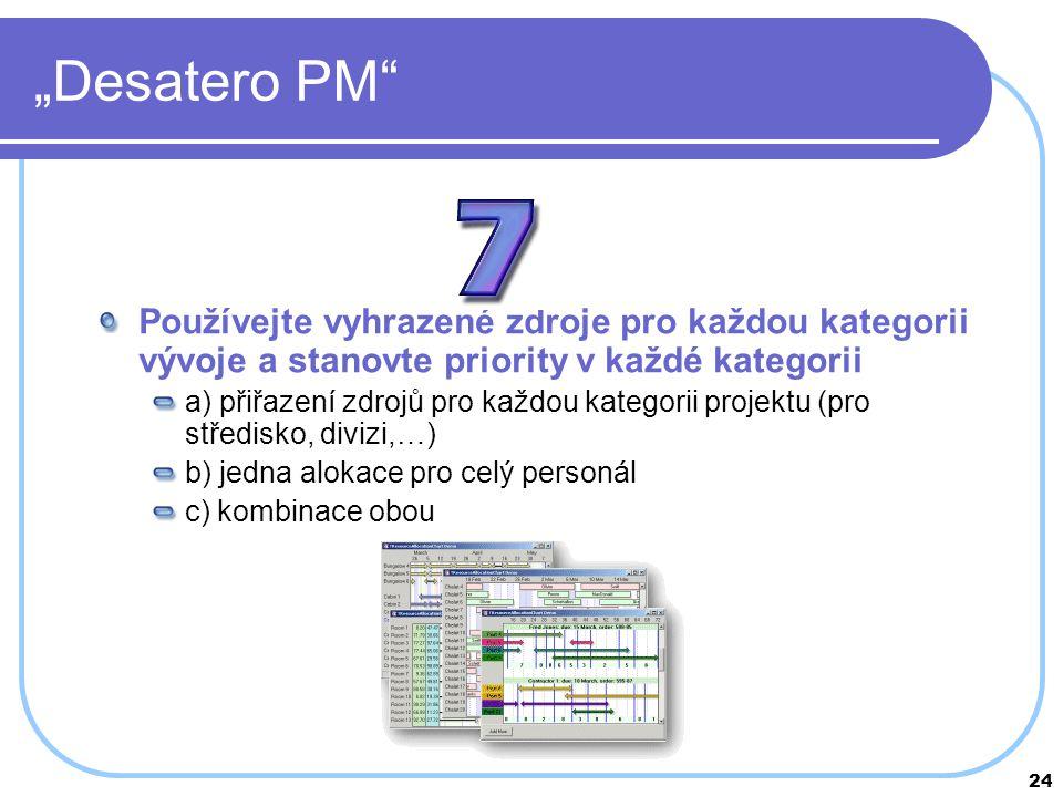 """24 """"Desatero PM"""" Používejte vyhrazené zdroje pro každou kategorii vývoje a stanovte priority v každé kategorii a) přiřazení zdrojů pro každou kategori"""