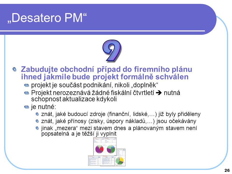 """26 """"Desatero PM"""" Zabudujte obchodní případ do firemního plánu ihned jakmile bude projekt formálně schválen projekt je součást podnikání, nikoli """"dopln"""