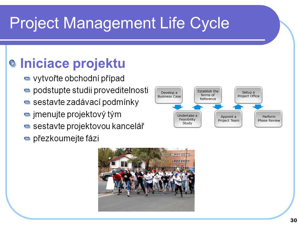 30 Project Management Life Cycle Iniciace projektu vytvořte obchodní případ podstupte studii proveditelnosti sestavte zadávací podmínky jmenujte proje