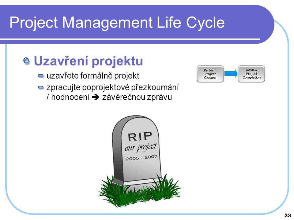 33 Project Management Life Cycle Uzavření projektu uzavřete formálně projekt zpracujte poprojektové přezkoumání / hodnocení  závěrečnou zprávu
