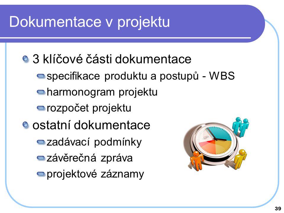 39 Dokumentace v projektu 3 klíčové části dokumentace specifikace produktu a postupů - WBS harmonogram projektu rozpočet projektu ostatní dokumentace