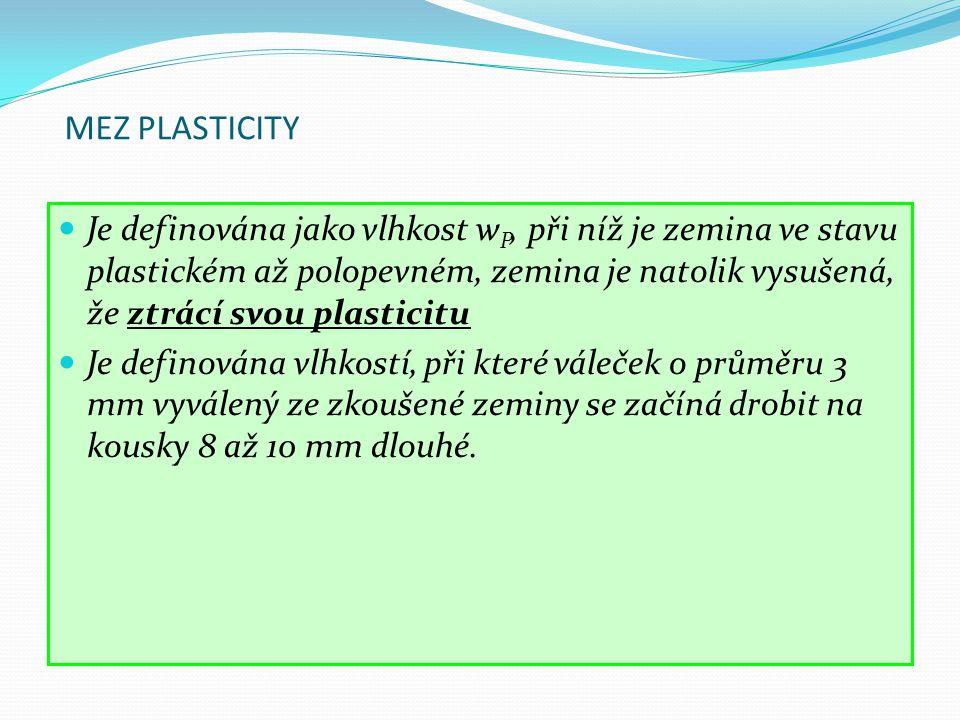 MEZ PLASTICITY Je definována jako vlhkost w P, při níž je zemina ve stavu plastickém až polopevném, zemina je natolik vysušená, že ztrácí svou plastic