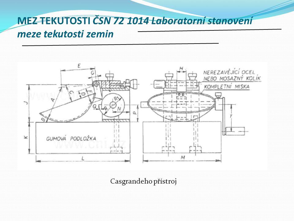 MEZ TEKUTOSTI ČSN 72 1014 Laboratorní stanovení meze tekutosti zemin Casgrandeho přístroj