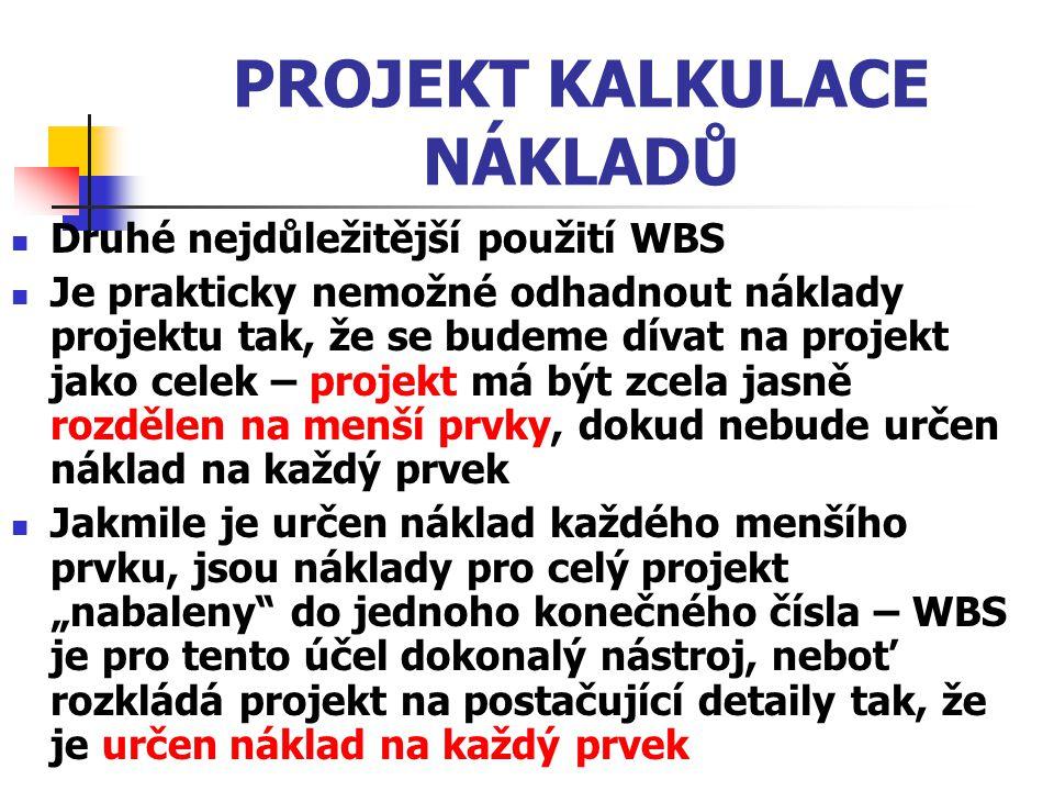 PROJEKT KALKULACE NÁKLADŮ Druhé nejdůležitější použití WBS Je prakticky nemožné odhadnout náklady projektu tak, že se budeme dívat na projekt jako cel
