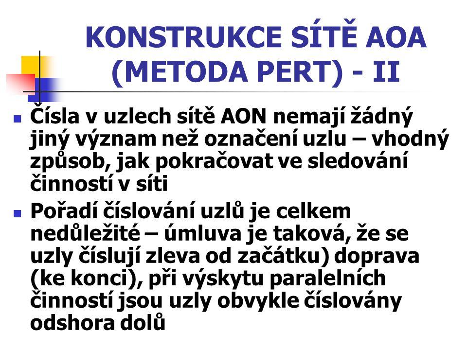 KONSTRUKCE SÍTĚ AOA (METODA PERT) - II Čísla v uzlech sítě AON nemají žádný jiný význam než označení uzlu – vhodný způsob, jak pokračovat ve sledování